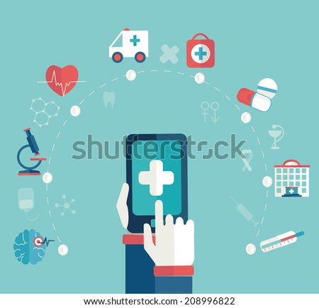 Set of flat design concept icons for web and mobile phone , medical  concept, infographic, flat style, vector. - stock vector