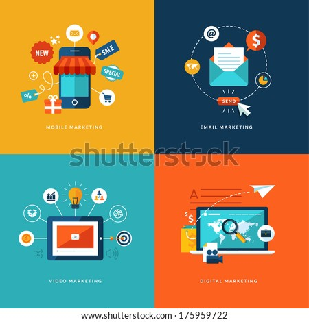 Set of flat design concept icons for web and mobile phone services and apps. Icons for mobile marketing, email marketing, video marketing and digital marketing. - stock vector