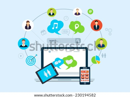 Set of flat design concept icons for web and mobile phone services and apps. Icons for social network and search engine marketing. - stock vector
