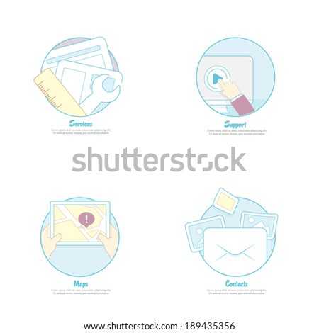 Set of flat design concept icons for web site, mobile and prints templates - stock vector