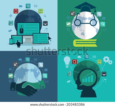 Set of flat design concept icons for web, social network, education, investment, global business, Abstract infographic modern design template workflow advertising layout, diagram, Vector illustration - stock vector