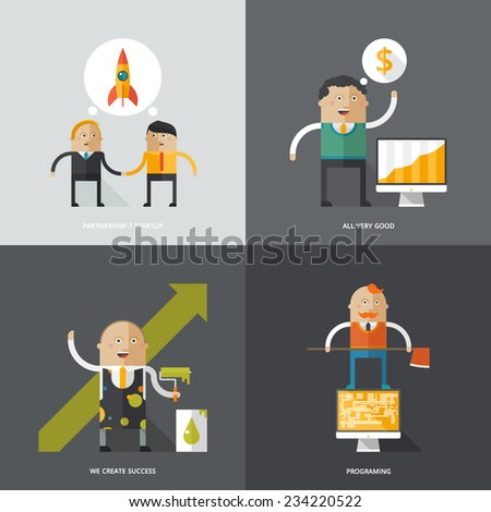 Set of flat design concept images for infographics, business, web, education, mobile marketing - stock vector