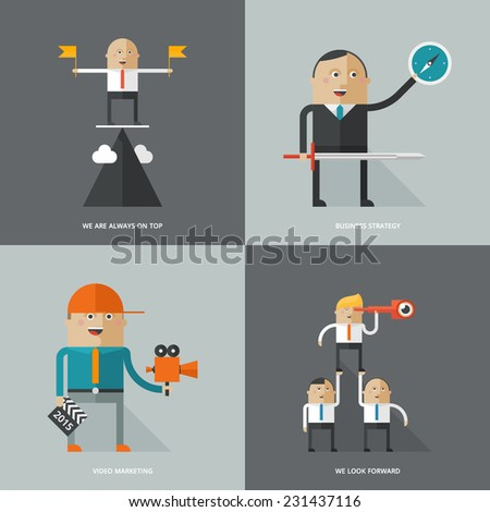 Set of flat design concept images for infographics, business, web, media marketing, strategy,  - stock vector