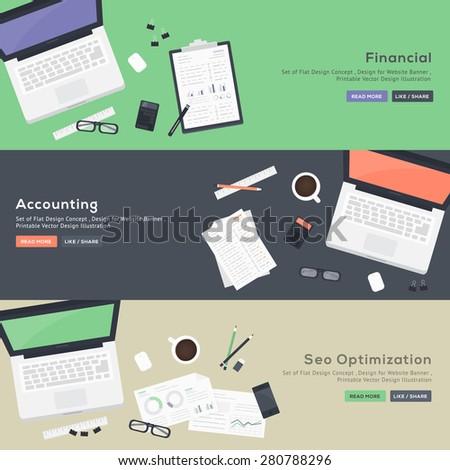 Set of flat design concept of Accounting , Seo optimization , Finance , Work Desk , Work Space  Design for Website Banner Printable Vector Design  illustration. - stock vector