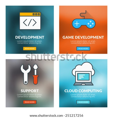 Set of flat design concepts. Development, game development, technical support, cloud computing. Vector illustration with blurred background - stock vector