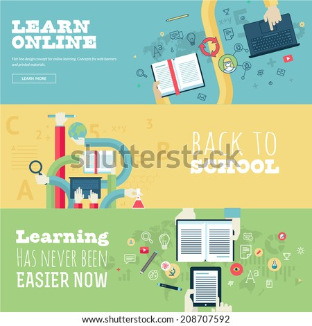 Set of flat design concepts for education, online learning, back to school. Concepts for web banners and print materials. - stock vector