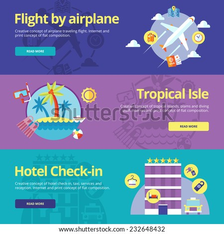 Set of flat design concepts for flight by plane, tropical island, hotel check-in.  Concepts for web banners and print materials - stock vector