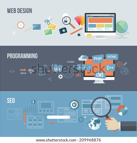 Set of flat design concepts for web development. Concepts for web design, programming and SEO. - stock vector