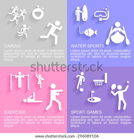 Set of flat design concepts of sport activities, including, cardio workout, exercising, water sport and sport games on colored background - stock vector