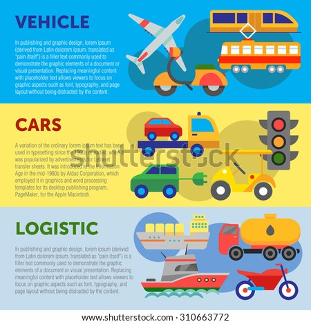 Set of flat design concepts of vehicles, cars and logistics on colored background - stock vector