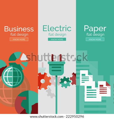 Set of flat design concepts - paper, business, electricity  - stock vector