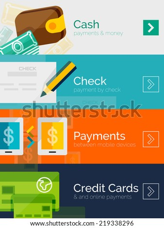 Set of flat design concepts - payment online. Cash, check, mobile online and credit card - stock vector