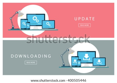 Set of flat design concepts Update and Downloading technology. Install new software, operating system. Banners for web design, marketing and promotion. Presentation templates. Vector illustration. - stock vector