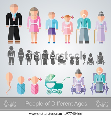 set of flat design different age isolated people from infant to retiree - stock vector