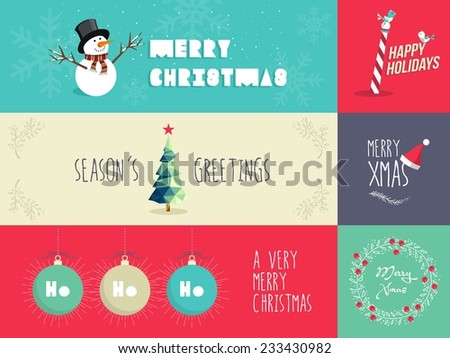 Set of flat design elements for Christmas season. Ideal for greeting card, poster and web banner. EPS10 vector file organized in layers for easy editing. - stock vector