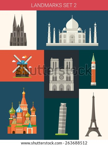 Set of flat design famous world landmarks icons - stock vector