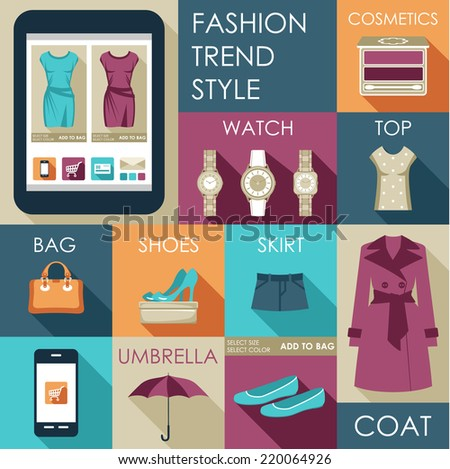 Set of flat design fashion icon for web and mobile phone services and