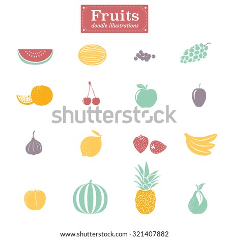 Set of flat design fruit illustrations - stock vector