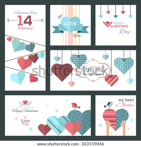 Set of flat design Happy Valentine Day greeting cards and banners. The set can be used for websites,banners and badges,printed materials,greeting cards,gift tags, labels,stickers,promotional materials - stock vector