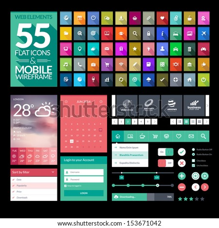 Set of flat design icons, elements, widgets. Template for mobile app and website design - stock vector
