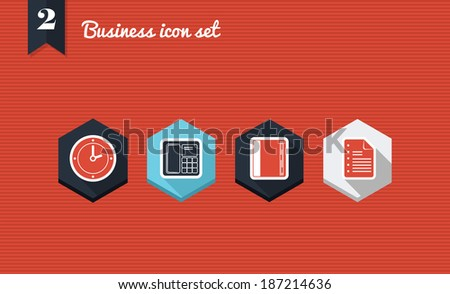 Set of flat design icons for Business management. Vector illustration file layered for easy editing. - stock vector