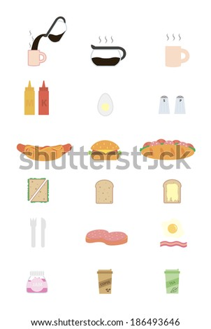 Set of flat design icons for cafes and restaurant - stock vector