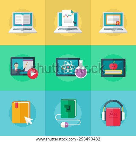Set of flat design icons for education, online education, online learning. Vector. - stock vector