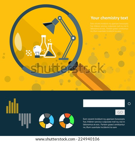 Set of flat design icons for experiments in the laboratory.  - stock vector