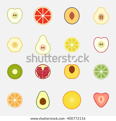 Set of flat design icons for fruits - stock vector