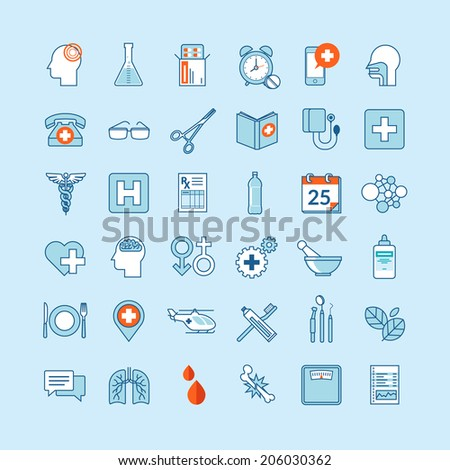 Set of flat design icons for medicine and health care - stock vector