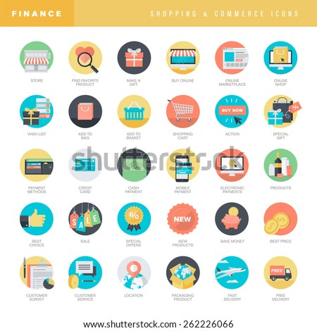 Set of flat design icons for online shopping and e-commerce - stock vector
