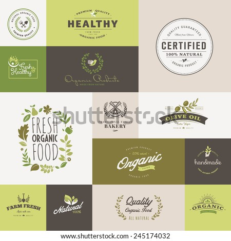 Set of flat design icons for organic food and drink - stock vector