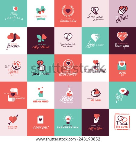 Set of flat design icons for Valentine day - stock vector
