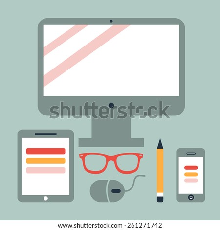 Set of Flat Design Icons.  Mobile Phones, Tablet PC, Marketing Technologies, Mobile Apps, Email, Video Services and Money Management. Concept Icons for Web Site Design. Digital Art and Gadgets - stock vector