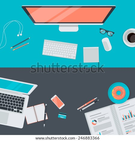 Set of flat design illustration concept of modern workspace, top view. Concepts for web banners and promotional materials.   - stock vector
