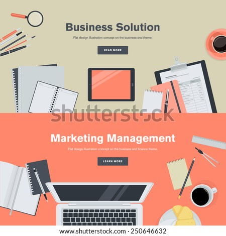 Set of flat design illustration concepts for business and marketing management. Concepts for web banners and promotional materials.    - stock vector