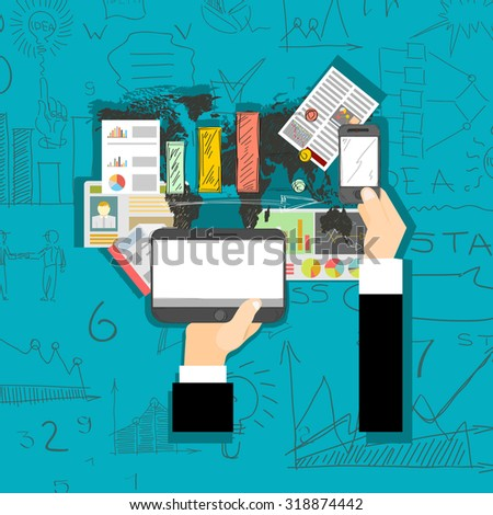Set of flat design illustration concepts for business, finance, consultin Concepts for web banner and printed materials.g, management. - stock vector