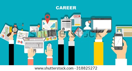 Set of flat design illustration concepts for business, finance, consulting, management, human resources, caree. Concepts for web banner and printed materials. - stock vector