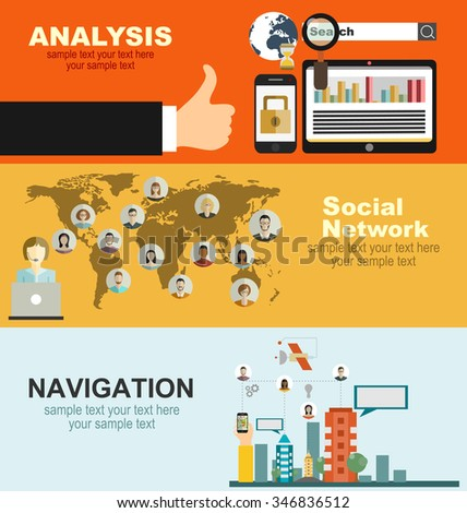 Set of flat design illustration concepts for business, finance, consulting, management, human resources, career, employment agency, staff training,money, technology, navigation. - stock vector