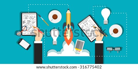 Set of flat design illustration concepts for business, finance, team work, analysis, strategy and planning, startup. Concepts for web banner and printed materials. - stock vector
