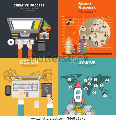 Set of flat design illustration concepts for business, human resources, career, employment agency, staff training,money, technology,startup,creative. - stock vector