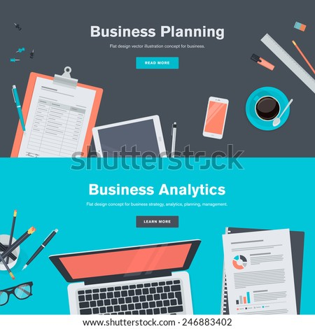 Set of flat design illustration concepts for business planning and analytics. Concepts for web banners and promotional materials.   - stock vector