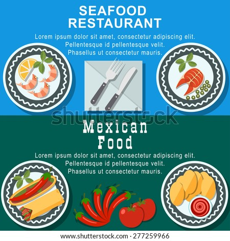 Set of flat design illustration concepts for seafood restaraunt and  mexican food web banners and printed materials, with pizza, pasta, sushi, fish. - stock vector
