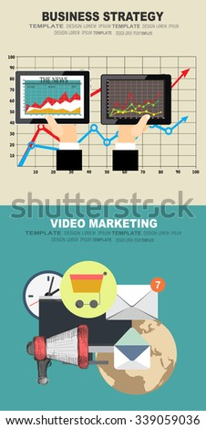 Set of flat design illustration concepts for video and digital marketing.Concepts for business planning and accounting, analysis, audit, project management, marketing. - stock vector