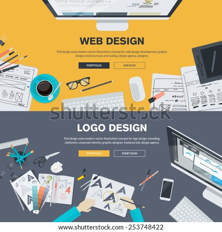 Set of flat design illustration concepts for web design development, logo design, graphic design, design agency. Concepts for web banner and printed materials. - stock vector