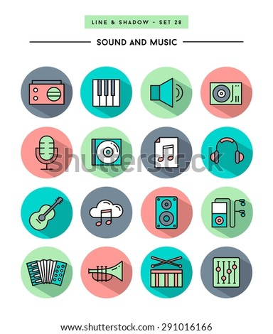 set of flat design,long shadow, thin line sound and music icons, vector illustration - stock vector