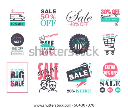 set of flat design sale stickers templates trendy style for product promotions website and