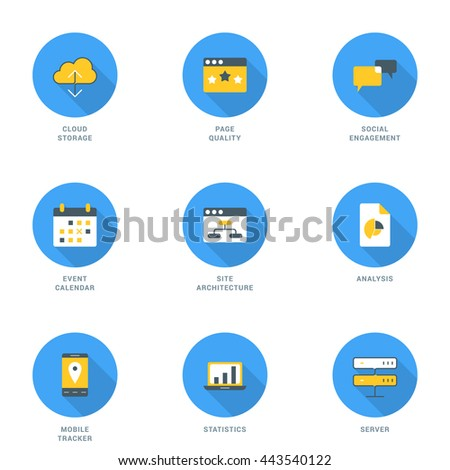 Set Of Flat Design SEO Icons With Long Shadow Cloud Storage Social Engagement