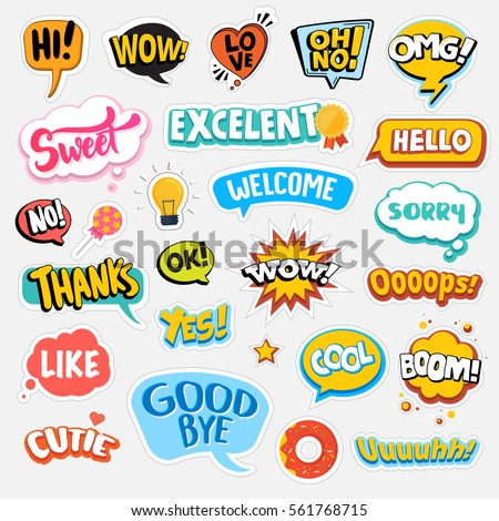 Set of flat design social network stickers isolated vector illustrations for online communication networking