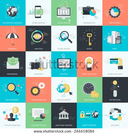 Set of flat design style concept icons for graphic and web design. Icons for finance, banking, m-banking, business, investment, marketing, e-commerce. - stock vector